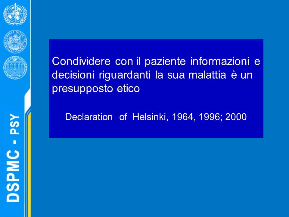 Condividere con il paziente informazioni e decisioni riguardanti la sua malattia è un presupposto etico Declaration of Helsinki, 1964, 1996; 2000