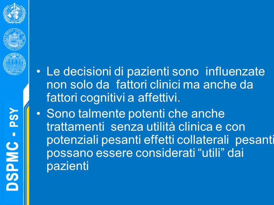 Le decisioni di pazienti sono influenzate non solo da fattori clinici ma anche da fattori cognitivi a affettivi.