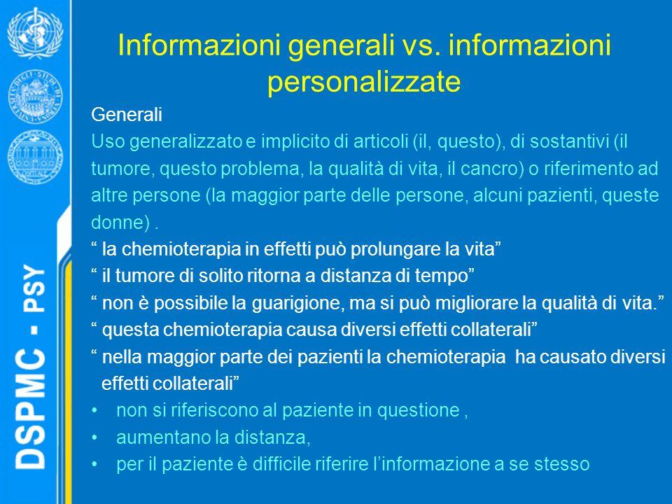 Informazioni generali vs.