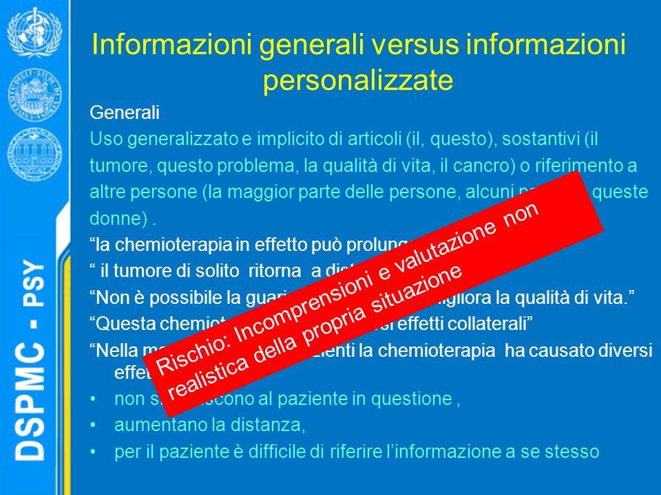 Informazioni generali versus informazioni personalizzate Generali Uso generalizzato e implicito di articoli (il, questo), sostantivi (il tumore, questo problema, la qualità di vita, il cancro) o riferimento a altre persone (la maggior parte delle persone, alcuni pazienti, queste donne).