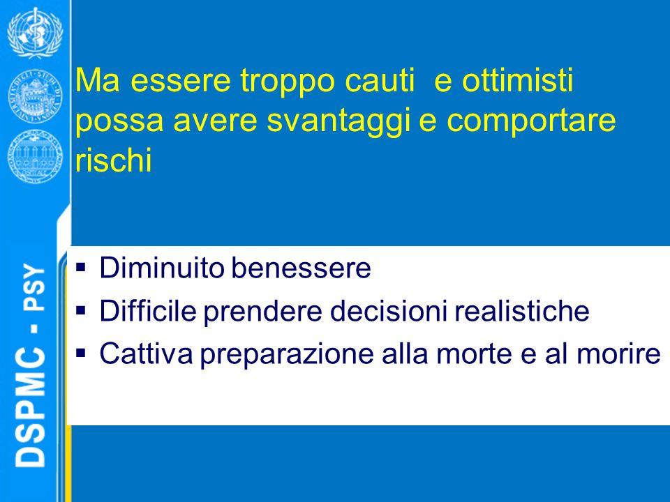 Ma essere troppo cauti e ottimisti possa avere svantaggi e comportare rischi Diminuito benessere Difficile prendere decisioni realistiche Cattiva preparazione alla morte e al morire