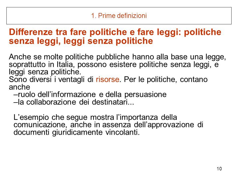 10 1. Prime definizioni Differenze tra fare politiche e fare leggi: politiche senza leggi, leggi senza politiche Anche se molte politiche pubbliche ha