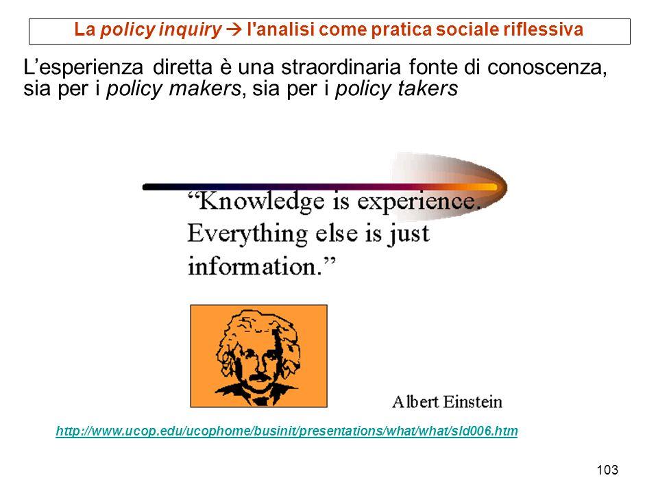 103 http://www.ucop.edu/ucophome/businit/presentations/what/what/sld006.htm Lesperienza diretta è una straordinaria fonte di conoscenza, sia per i pol