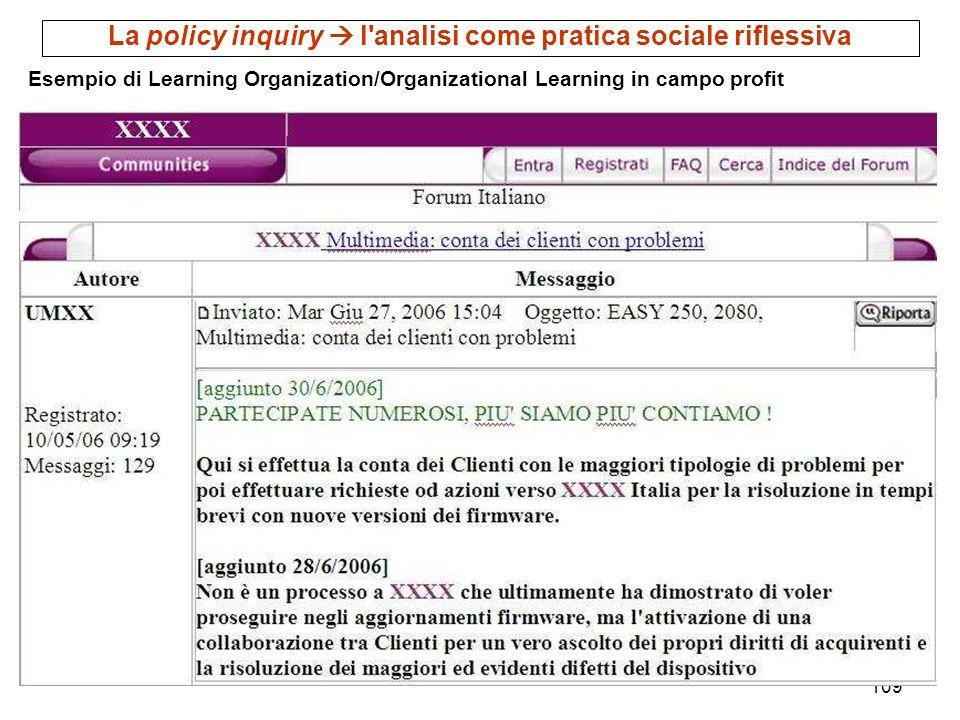 109 Esempio di Learning Organization/Organizational Learning in campo profit La policy inquiry l'analisi come pratica sociale riflessiva