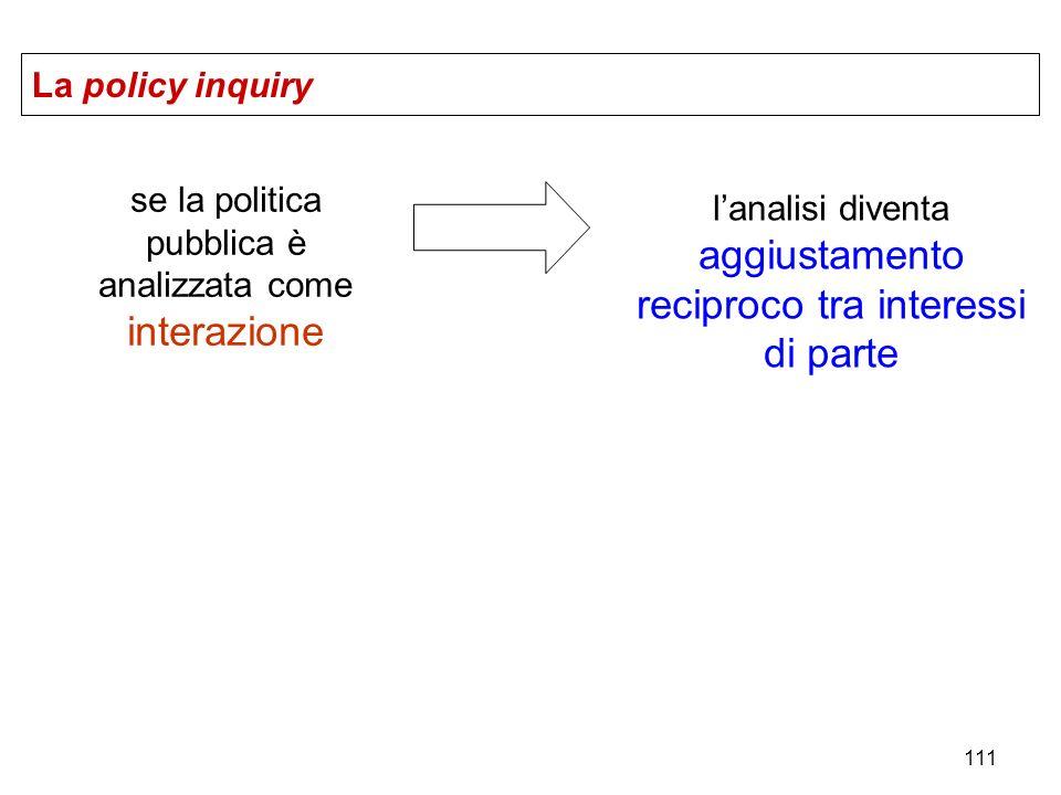 111 La policy inquiry se la politica pubblica è analizzata come interazione lanalisi diventa aggiustamento reciproco tra interessi di parte