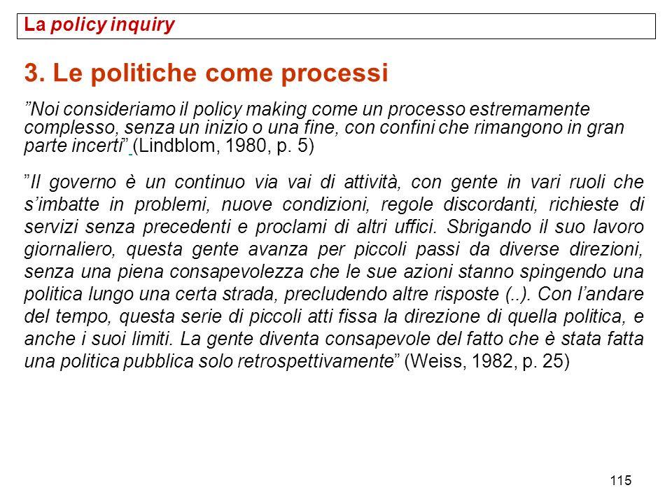 115 La policy inquiry 3. Le politiche come processi Noi consideriamo il policy making come un processo estremamente complesso, senza un inizio o una f