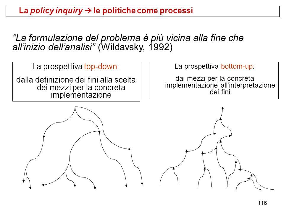 116 La policy inquiry le politiche come processi La prospettiva top-down: dalla definizione dei fini alla scelta dei mezzi per la concreta implementaz