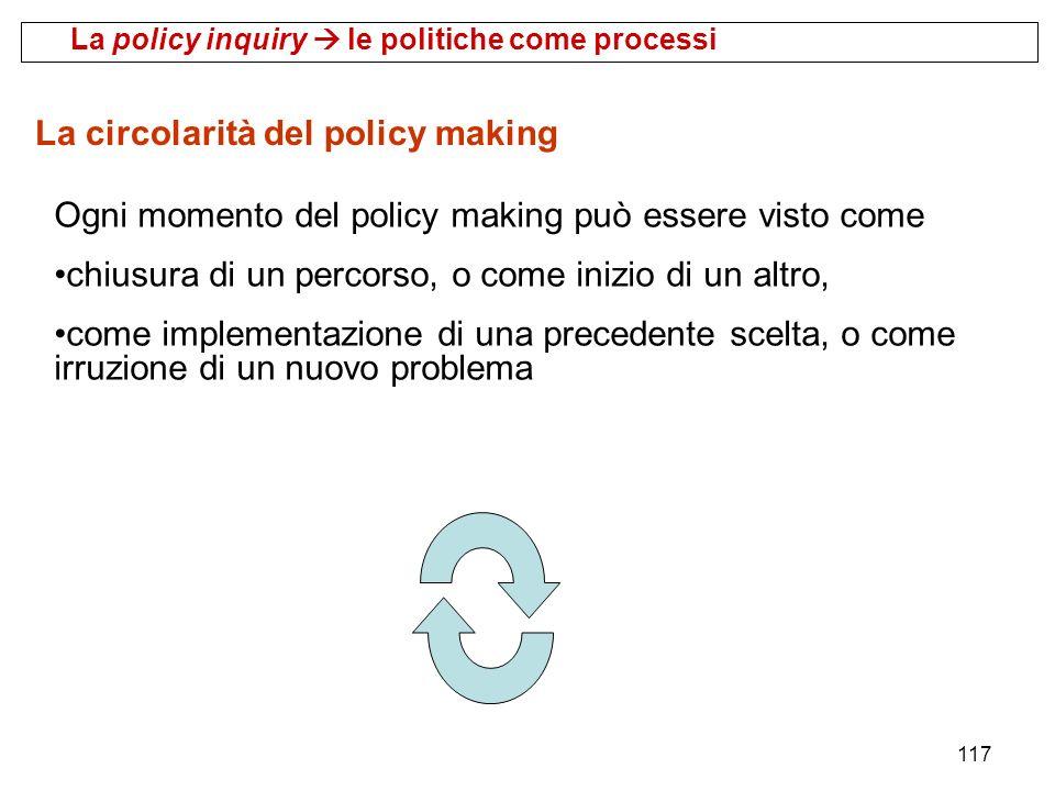 117 La circolarità del policy making Ogni momento del policy making può essere visto come chiusura di un percorso, o come inizio di un altro, come imp