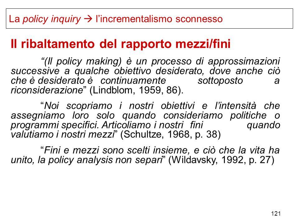 121 Il ribaltamento del rapporto mezzi/fini (Il policy making) è un processo di approssimazioni successive a qualche obiettivo desiderato, dove anche