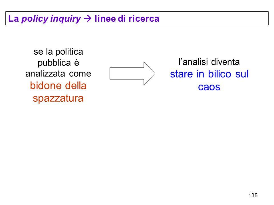 135 La policy inquiry linee di ricerca se la politica pubblica è analizzata come bidone della spazzatura lanalisi diventa stare in bilico sul caos