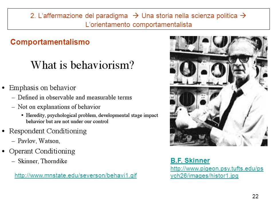 22 2. Laffermazione del paradigma Una storia nella scienza politica Lorientamento comportamentalista http://www.mnstate.edu/severson/behavi1.gif B.F.