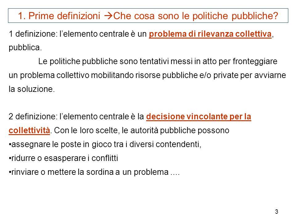 3 1 definizione: lelemento centrale è un problema di rilevanza collettiva, pubblica. Le politiche pubbliche sono tentativi messi in atto per fronteggi