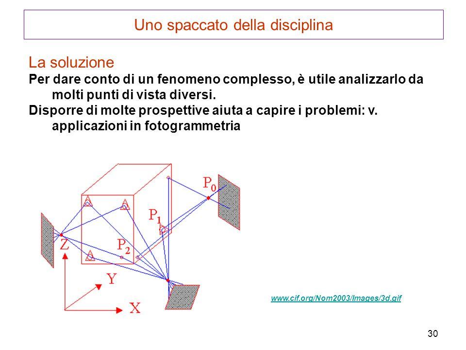 30 Uno spaccato della disciplina La soluzione Per dare conto di un fenomeno complesso, è utile analizzarlo da molti punti di vista diversi. Disporre d