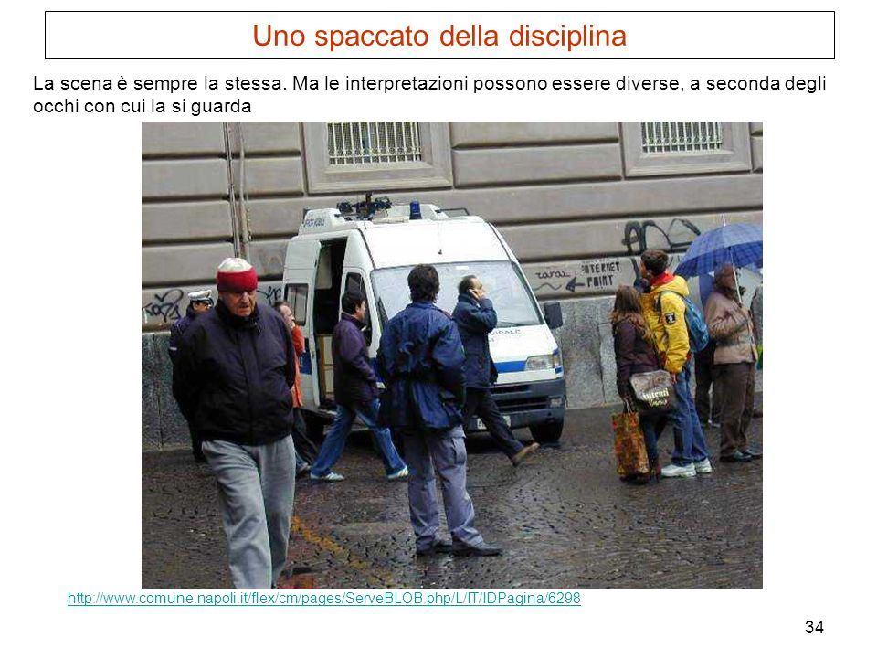 34 http://www.comune.napoli.it/flex/cm/pages/ServeBLOB.php/L/IT/IDPagina/6298 La scena è sempre la stessa. Ma le interpretazioni possono essere divers