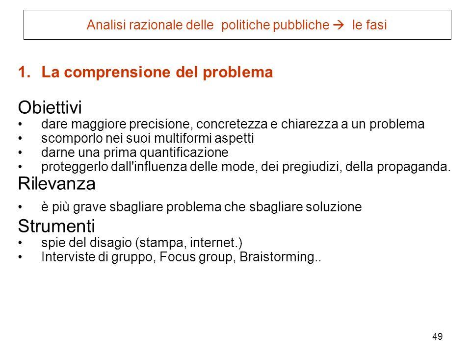 49 Analisi razionale delle politiche pubbliche le fasi 1.La comprensione del problema Obiettivi dare maggiore precisione, concretezza e chiarezza a un