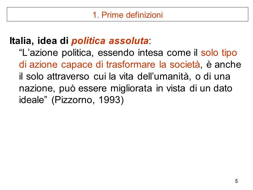 5 1. Prime definizioni Italia, idea di politica assoluta: Lazione politica, essendo intesa come il solo tipo di azione capace di trasformare la societ