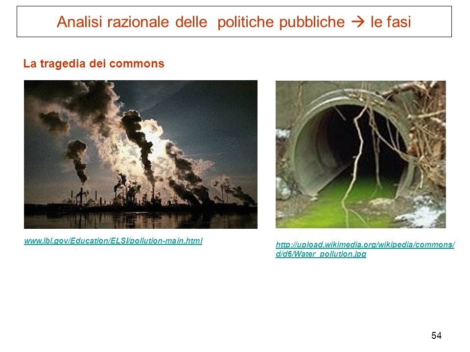 54 La tragedia dei commons www.lbl.gov/Education/ELSI/pollution-main.html http://upload.wikimedia.org/wikipedia/commons/ d/d6/Water_pollution.jpg Anal