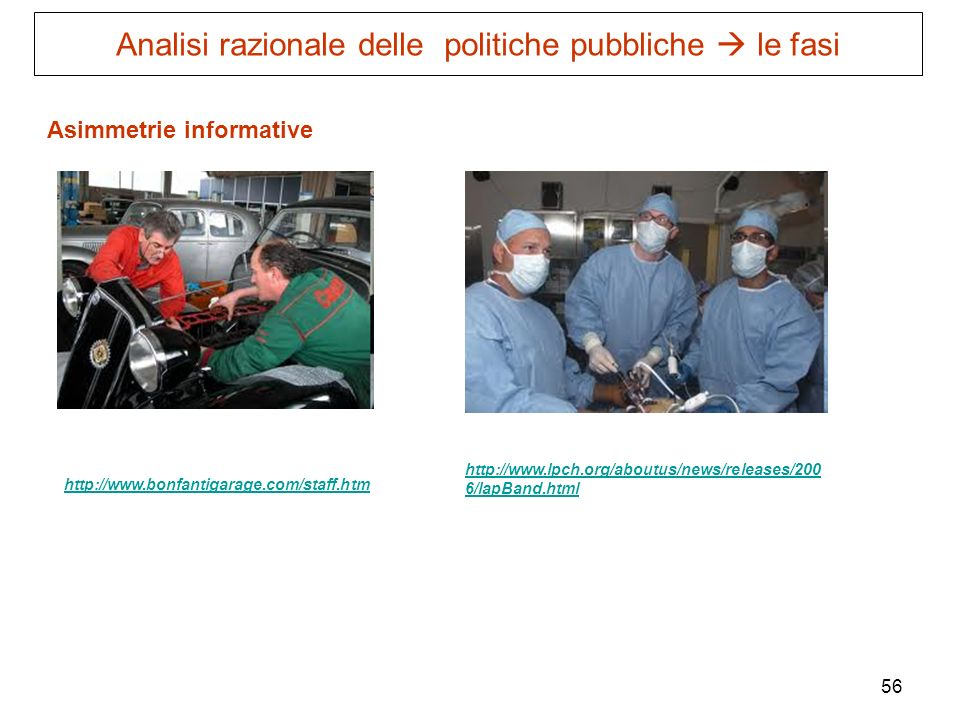 56 Asimmetrie informative http://www.bonfantigarage.com/staff.htm http://www.lpch.org/aboutus/news/releases/200 6/lapBand.html Analisi razionale delle