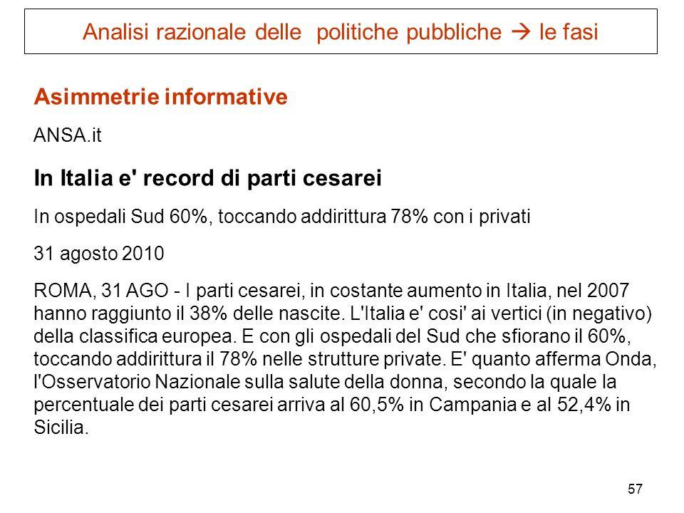 57 Asimmetrie informative ANSA.it In Italia e' record di parti cesarei In ospedali Sud 60%, toccando addirittura 78% con i privati 31 agosto 2010 ROMA