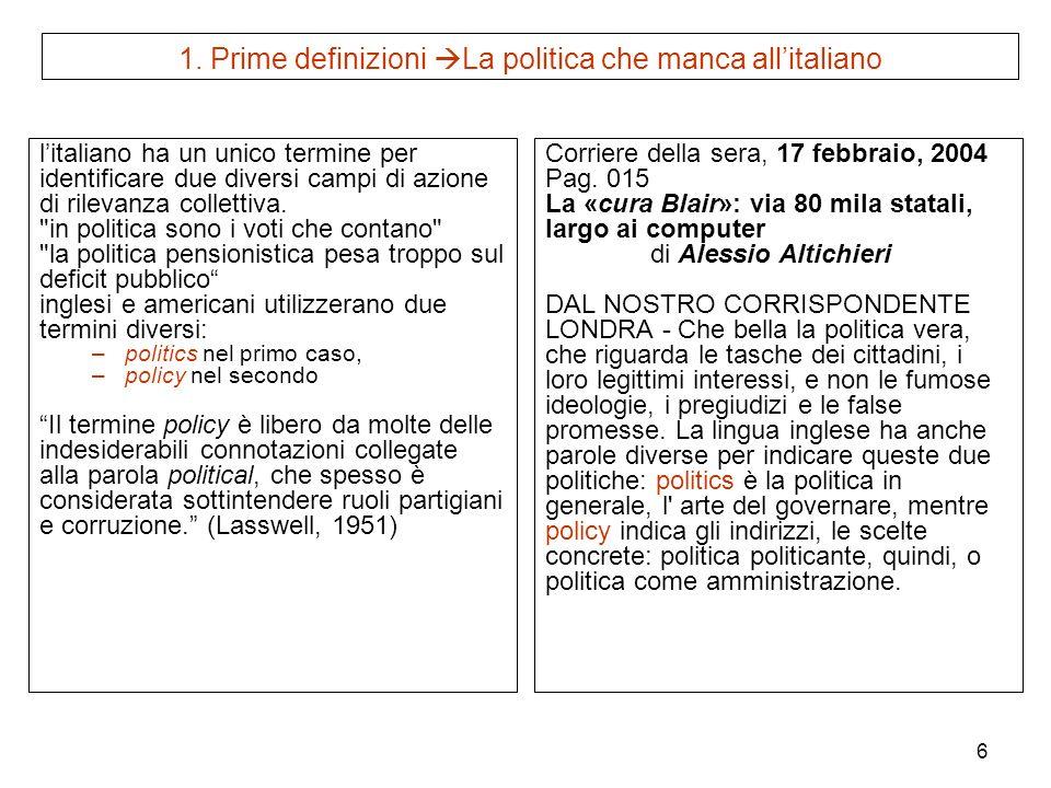 6 1. Prime definizioni La politica che manca allitaliano litaliano ha un unico termine per identificare due diversi campi di azione di rilevanza colle