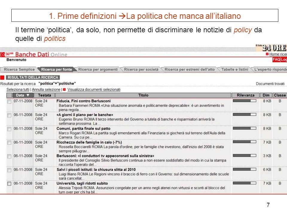 7 1. Prime definizioni La politica che manca allitaliano Il termine politica, da solo, non permette di discriminare le notizie di policy da quelle di