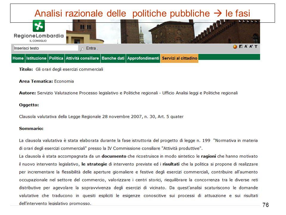 76 Analisi razionale delle politiche pubbliche le fasi