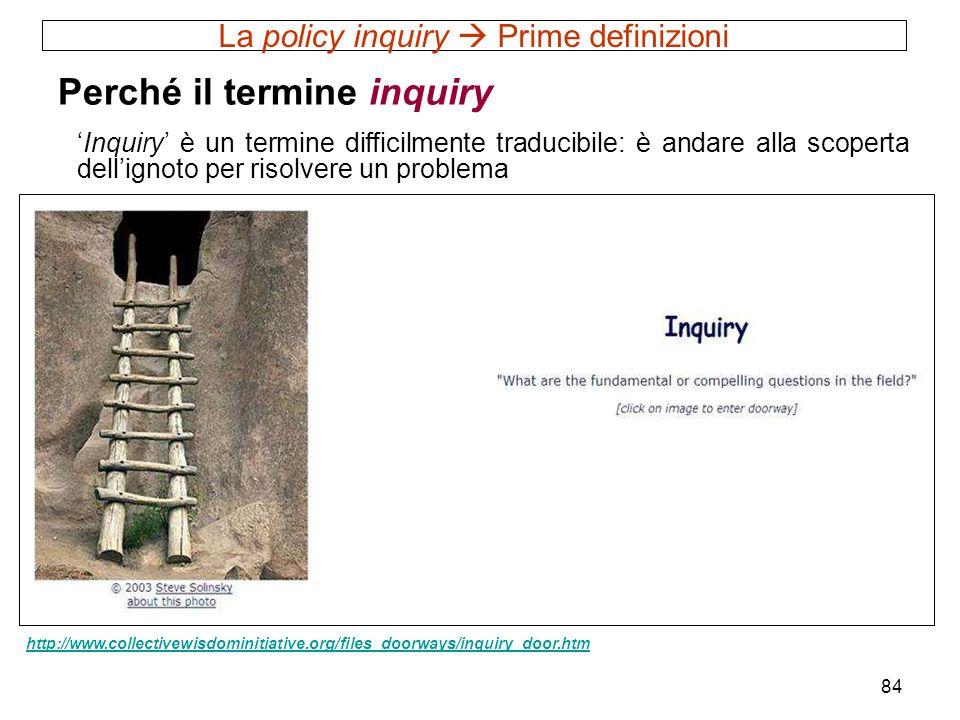 84 La policy inquiry Prime definizioni Perché il termine inquiry Inquiry è un termine difficilmente traducibile: è andare alla scoperta dellignoto per