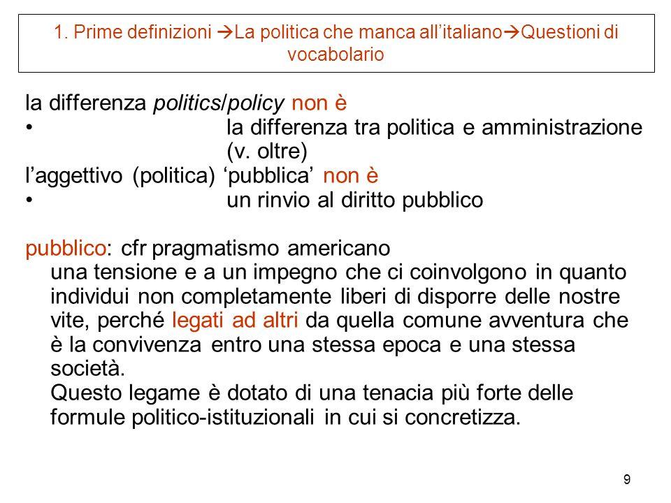 9 1. Prime definizioni La politica che manca allitaliano Questioni di vocabolario la differenza politics/policy non è la differenza tra politica e amm