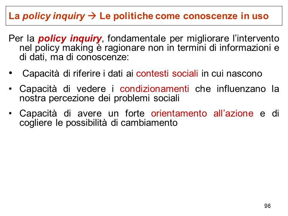 96 Per la policy inquiry, fondamentale per migliorare lintervento nel policy making è ragionare non in termini di informazioni e di dati, ma di conosc