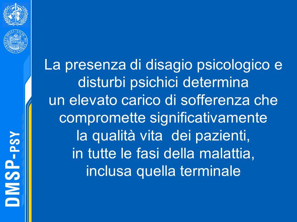 La presenza di disagio psicologico e disturbi psichici determina un elevato carico di sofferenza che compromette significativamente la qualità vita de