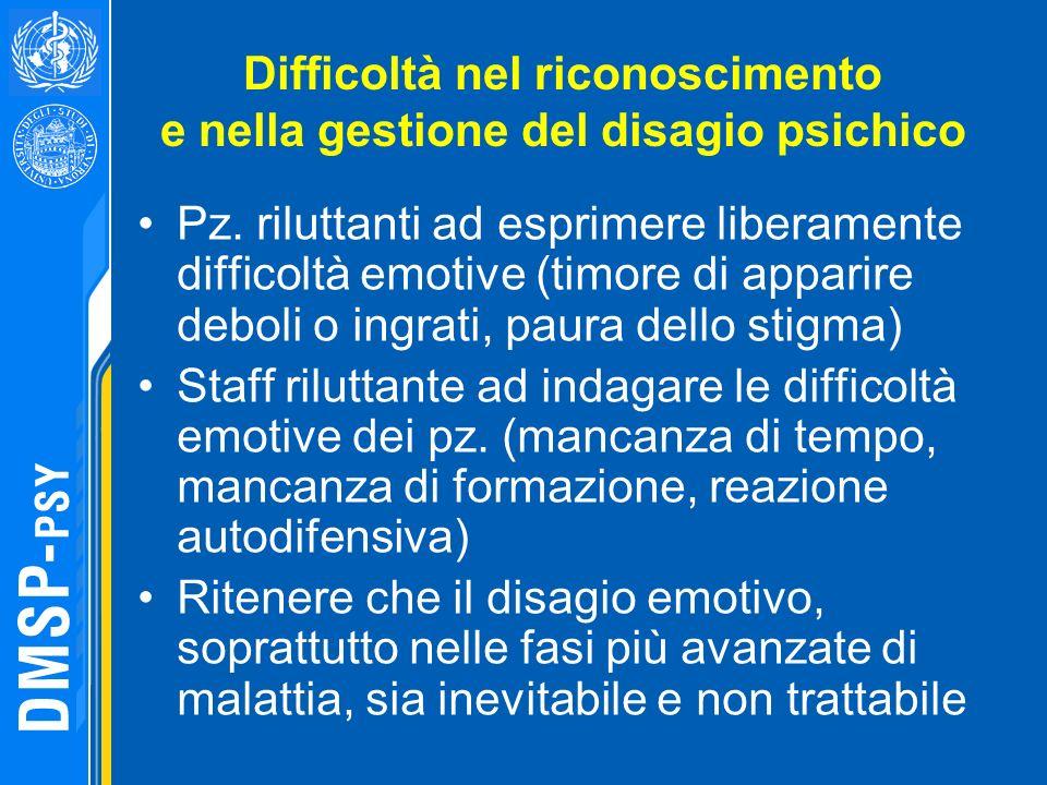 Difficoltà nel riconoscimento e nella gestione del disagio psichico Pz. riluttanti ad esprimere liberamente difficoltà emotive (timore di apparire deb