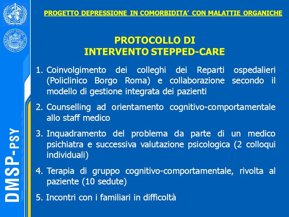 PROTOCOLLO DI INTERVENTO STEPPED-CARE 1.Coinvolgimento dei colleghi dei Reparti ospedalieri (Policlinico Borgo Roma) e collaborazione secondo il model
