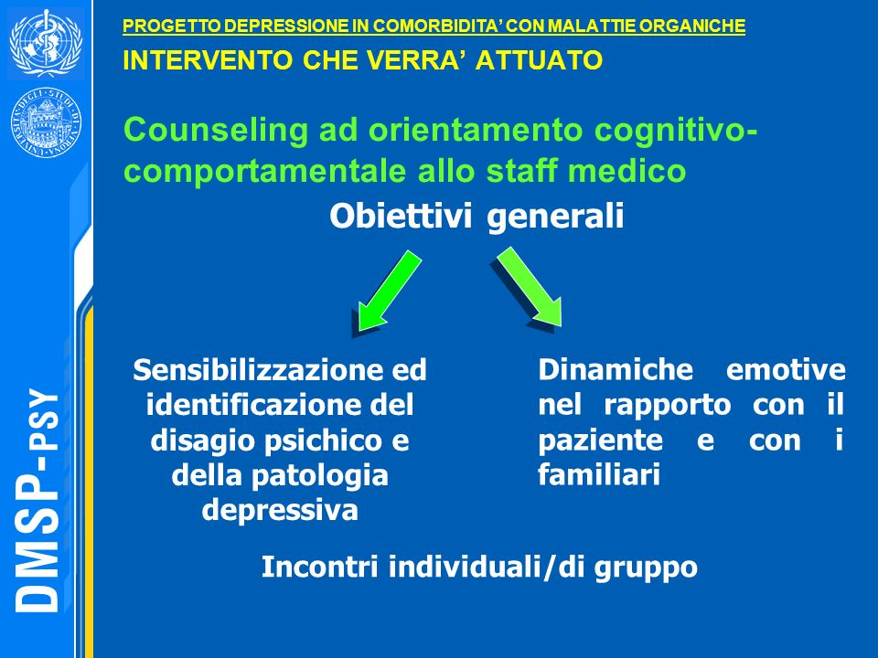 PROGETTO DEPRESSIONE IN COMORBIDITA CON MALATTIE ORGANICHE INTERVENTO CHE VERRA ATTUATO Counseling ad orientamento cognitivo- comportamentale allo sta