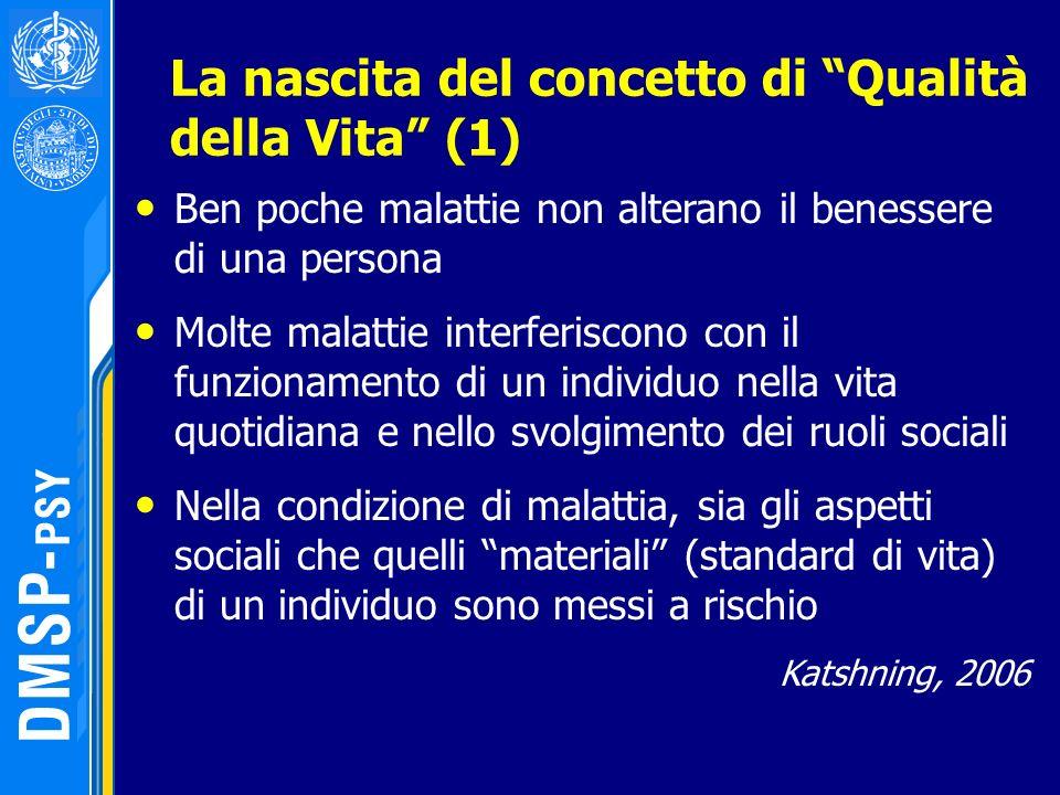 La nascita del concetto di Qualità della Vita (1) Ben poche malattie non alterano il benessere di una persona Molte malattie interferiscono con il fun