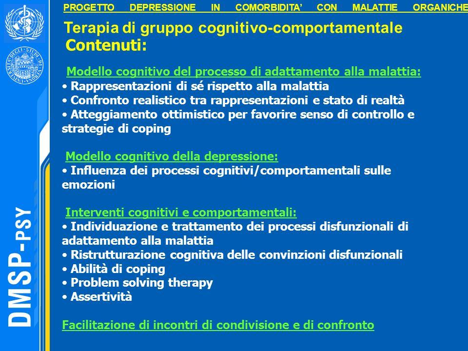 Modello cognitivo del processo di adattamento alla malattia: Rappresentazioni di sé rispetto alla malattia Confronto realistico tra rappresentazioni e