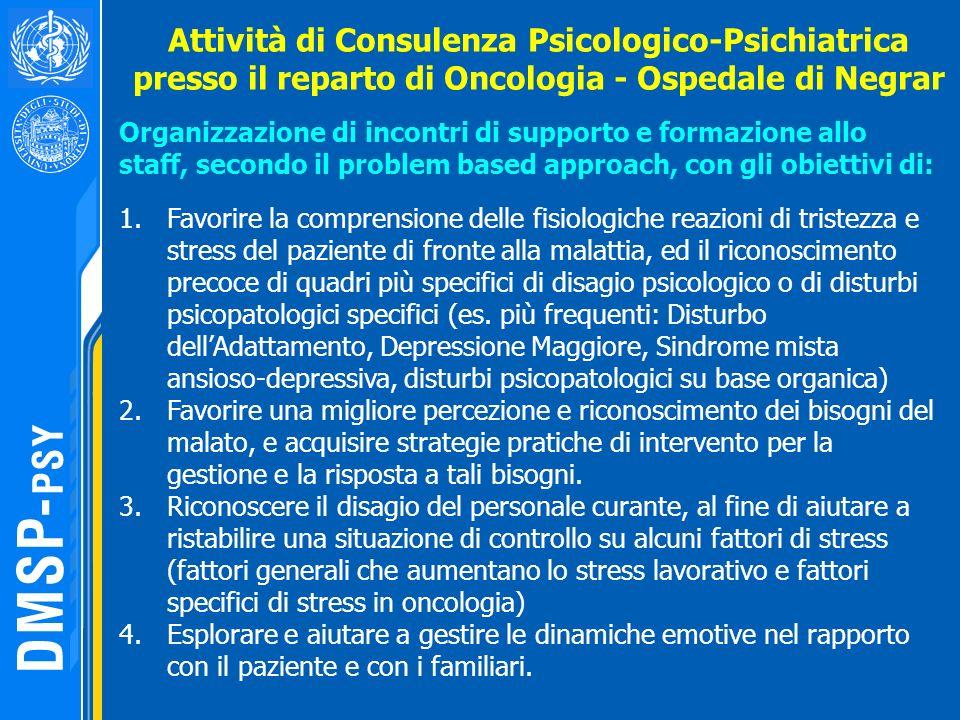 Organizzazione di incontri di supporto e formazione allo staff, secondo il problem based approach, con gli obiettivi di: Attività di Consulenza Psicol