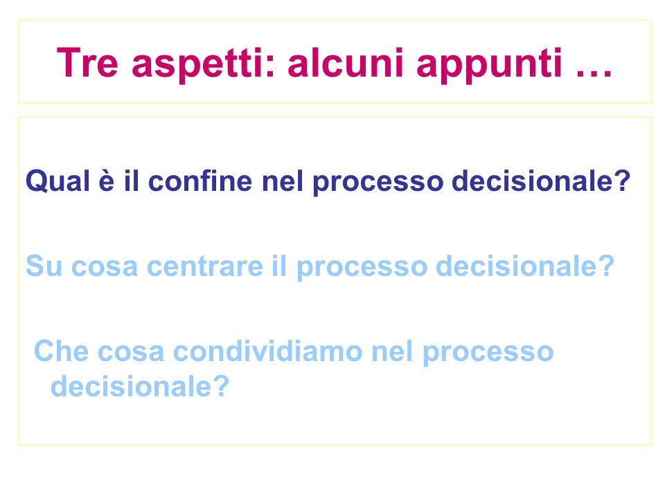 Tre aspetti: alcuni appunti … Qual è il confine nel processo decisionale? Su cosa centrare il processo decisionale? Che cosa condividiamo nel processo