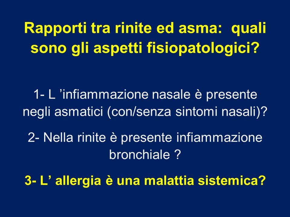 Rapporti tra rinite ed asma: quali sono gli aspetti fisiopatologici? 1- L infiammazione nasale è presente negli asmatici (con/senza sintomi nasali)? 2