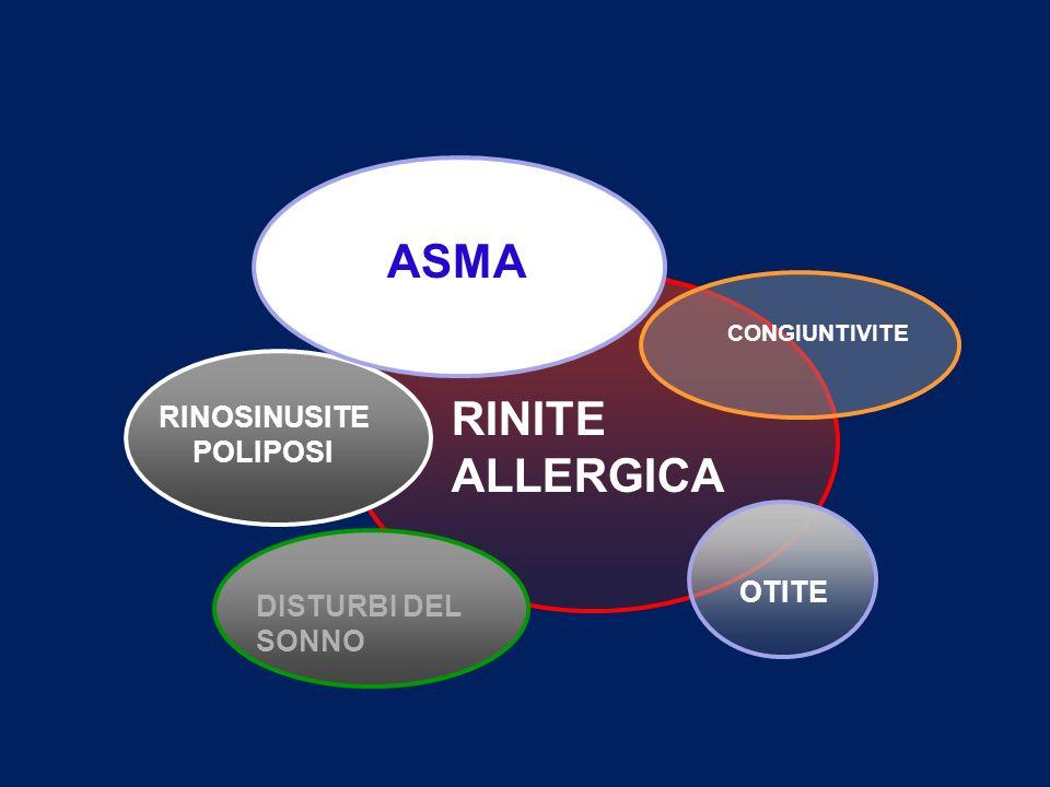 0 10 20 30 40 50 60 Cell./mm 2 outin Stagione pollinica EG1+ CD45RO+ CD8+ CD4+ Biopsie bronchiali nei pazienti con rinite stagionale Chakir et al, Allergy Clin Immunol 2000