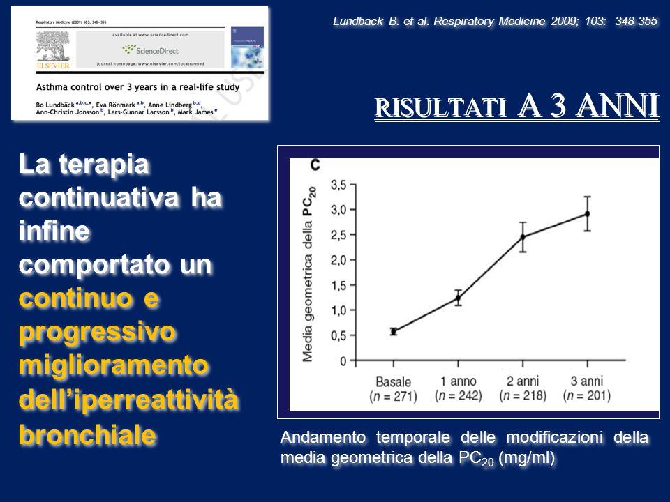 Lundback B. et al. Respiratory Medicine 2009; 103: 348-355 RISULTATI A 3 ANNI Andamento temporale delle modificazioni della media geometrica della PC