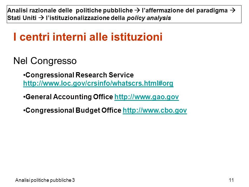 Analisi politiche pubbliche 311 I centri interni alle istituzioni Nel Congresso Congressional Research Service http://www.loc.gov/crsinfo/whatscrs.htm