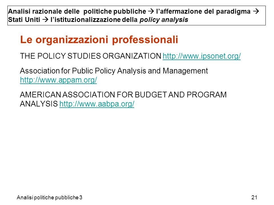 Analisi politiche pubbliche 321 Le organizzazioni professionali THE POLICY STUDIES ORGANIZATION http://www.ipsonet.org/http://www.ipsonet.org/ Associa