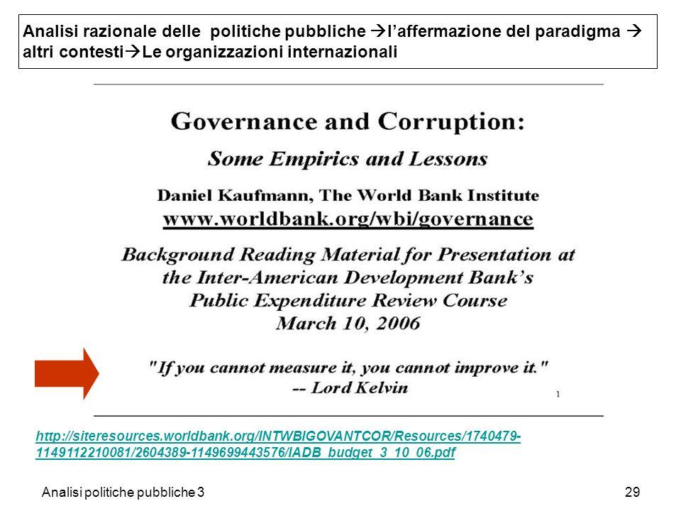 Analisi politiche pubbliche 329 Analisi razionale delle politiche pubbliche laffermazione del paradigma altri contesti Le organizzazioni internazional