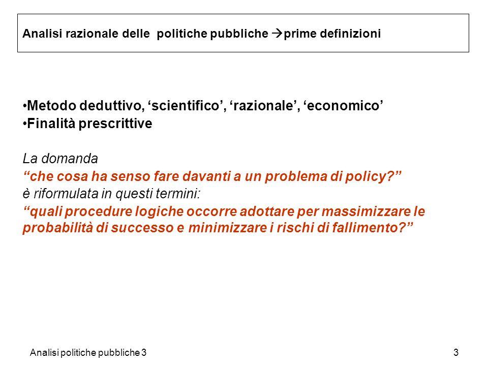 Analisi politiche pubbliche 33 Analisi razionale delle politiche pubbliche prime definizioni Metodo deduttivo, scientifico, razionale, economico Final