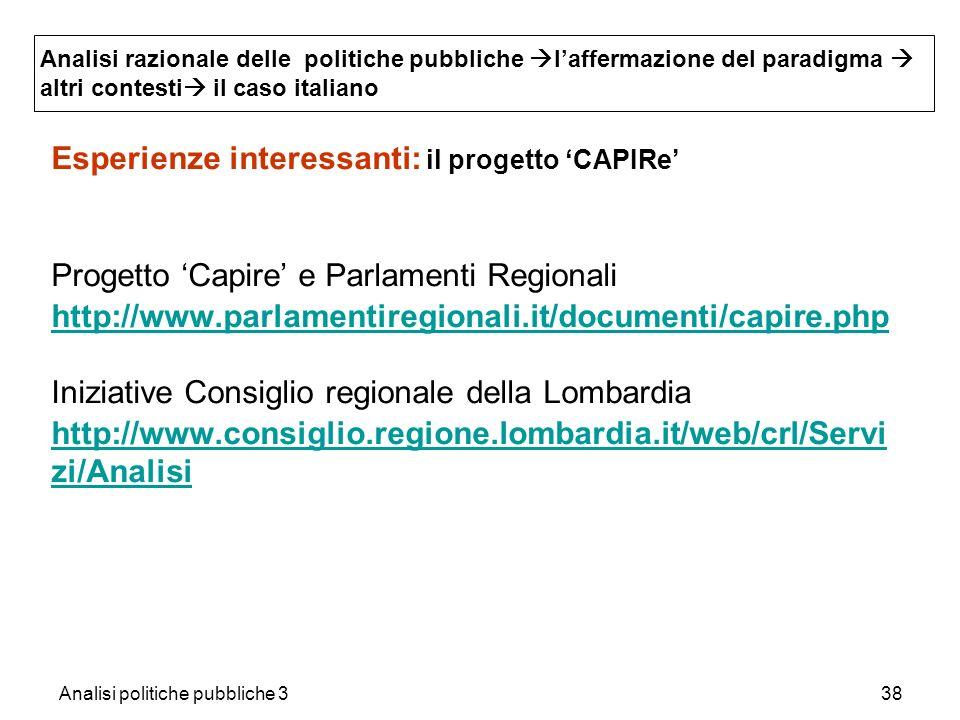 Analisi politiche pubbliche 338 Esperienze interessanti: il progetto CAPIRe Progetto Capire e Parlamenti Regionali http://www.parlamentiregionali.it/d