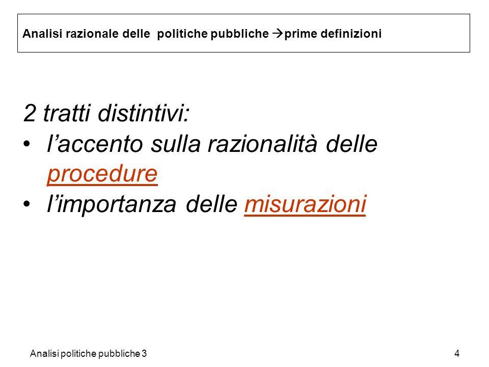 Analisi politiche pubbliche 34 Analisi razionale delle politiche pubbliche prime definizioni 2 tratti distintivi: laccento sulla razionalità delle pro