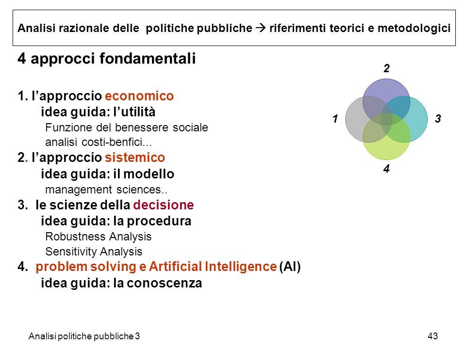 Analisi politiche pubbliche 343 4 approcci fondamentali 1. lapproccio economico idea guida: lutilità Funzione del benessere sociale analisi costi-benf