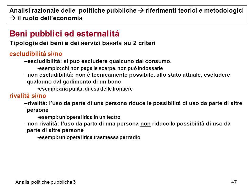Analisi politiche pubbliche 347 Beni pubblici ed esternalitá Tipologia dei beni e dei servizi basata su 2 criteri escludibilitá si/no –escludibilità: