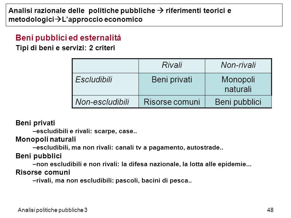 Analisi politiche pubbliche 348 Beni pubblici ed esternalitá Tipi di beni e servizi: 2 criteri Beni privati –escludibili e rivali: scarpe, case.. Mono