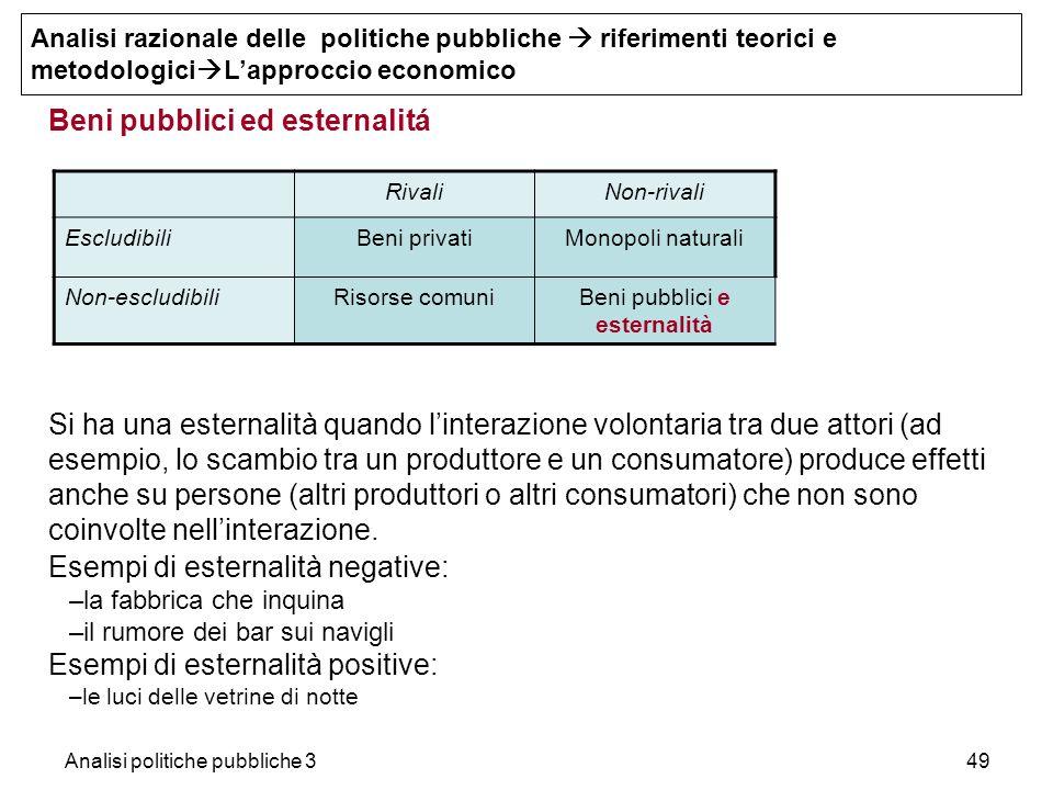 Analisi politiche pubbliche 349 Beni pubblici ed esternalitá Si ha una esternalità quando linterazione volontaria tra due attori (ad esempio, lo scamb